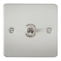Knightsbridge Flat Plate Brushed Chrome 10A 1 Gang 2 Way Toggle Switch