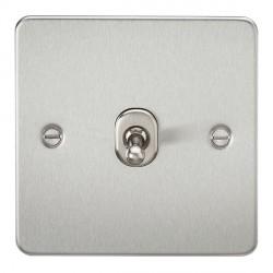 Knightsbridge Flat Plate Brushed Chrome 10A 1 Gang 2 Way Toggle Switch