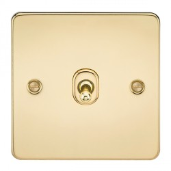 Knightsbridge Flat Plate Polished Brass 10A 1 Gang 2 Way Toggle Switch