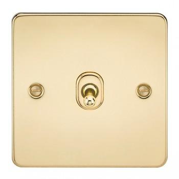 Knightsbridge Flat Plate Polished Brass 10A 1 Gang 2 Way Toggle Switch