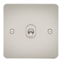 Knightsbridge Flat Plate Pearl 10A 1 Gang 2 Way Toggle Switch