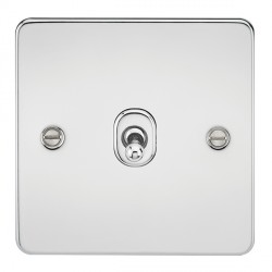 Knightsbridge Flat Plate Polished Chrome 10A 1 Gang Intermediate Toggle Switch