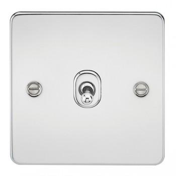Knightsbridge Flat Plate Polished Chrome 10A 1 Gang Intermediate Toggle Switch