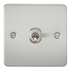 Knightsbridge Flat Plate Brushed Chrome 10A 1 Gang Intermediate Toggle Switch