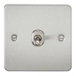 Knightsbridge Flat Plate Brushed Chrome 10A 1 Gang Intermediate Toggle Switch
