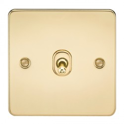 Knightsbridge Flat Plate Polished Brass 10A 1 Gang Intermediate Toggle Switch