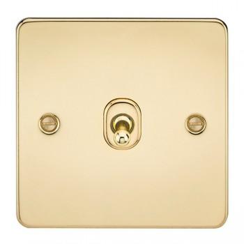Knightsbridge Flat Plate Polished Brass 10A 1 Gang Intermediate Toggle Switch