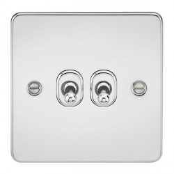 Knightsbridge Flat Plate Polished Chrome 10A 2 Gang 2 Way Toggle Switch