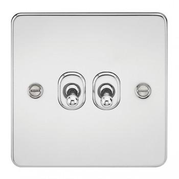 Knightsbridge Flat Plate Polished Chrome 10A 2 Gang 2 Way Toggle Switch