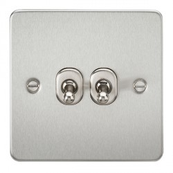 Knightsbridge Flat Plate Brushed Chrome 10A 2 Gang 2 Way Toggle Switch