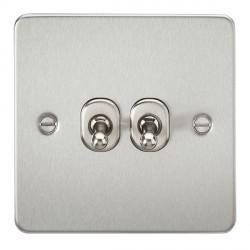 Knightsbridge Flat Plate Brushed Chrome 10A 2 Gang 2 Way Toggle Switch