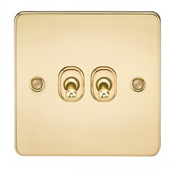 Knightsbridge Flat Plate Polished Brass 10A 2 Gang 2 Way Toggle Switch