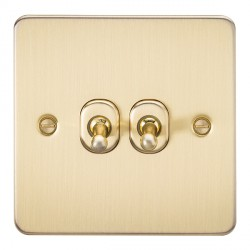 Knightsbridge Flat Plate Brushed Brass 10A 2 Gang 2 Way Toggle Switch