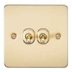 Knightsbridge Flat Plate Brushed Brass 10A 2 Gang 2 Way Toggle Switch