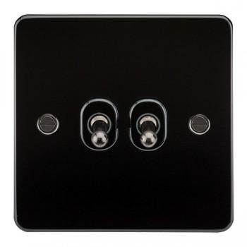 Knightsbridge Flat Plate Gunmetal 10A 2 Gang 2 Way Toggle Switch