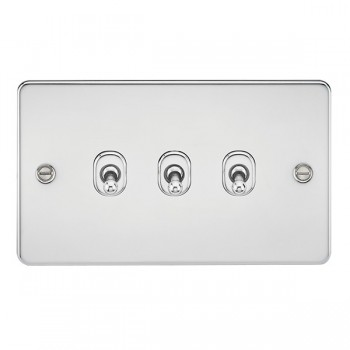 Knightsbridge Flat Plate Polished Chrome 10A 3 Gang 2 Way Toggle Switch
