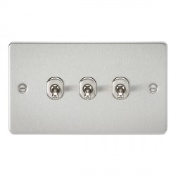 Knightsbridge Flat Plate Brushed Chrome 10A 3 Gang 2 Way Toggle Switch