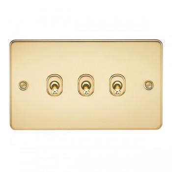 Knightsbridge Flat Plate Polished Brass 10A 3 Gang 2 Way Toggle Switch