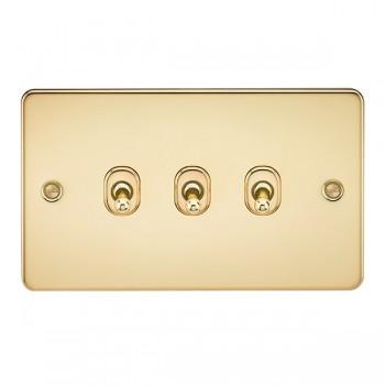 Knightsbridge Flat Plate Polished Brass 10A 3 Gang 2 Way Toggle Switch