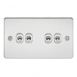 Knightsbridge Flat Plate Polished Chrome 10A 4 Gang 2 Way Toggle Switch
