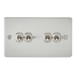 Knightsbridge Flat Plate Brushed Chrome 10A 4 Gang 2 Way Toggle Switch
