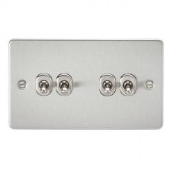 Knightsbridge Flat Plate Brushed Chrome 10A 4 Gang 2 Way Toggle Switch