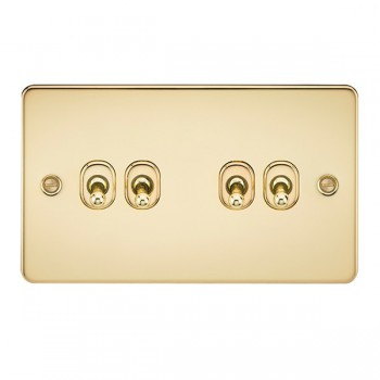 Knightsbridge Flat Plate Polished Brass 10A 4 Gang 2 Way Toggle Switch