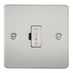 Knightsbridge Flat Plate Brushed Chrome 13A 1 Gang Fused Spur Unit