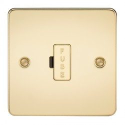 Knightsbridge Flat Plate Polished Brass 13A 1 Gang Fused Spur Unit