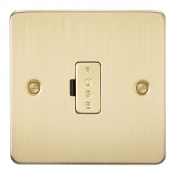 Knightsbridge Flat Plate Brushed Brass 13A 1 Gang Fused Spur Unit