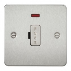 Knightsbridge Flat Plate Brushed Chrome 13A 1 Gang Fused Spur Unit with Neon
