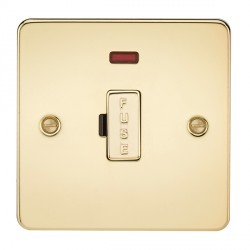 Knightsbridge Flat Plate Polished Brass 13A 1 Gang Fused Spur Unit with Neon