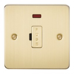 Knightsbridge Flat Plate Brushed Brass 13A 1 Gang Fused Spur Unit with Neon