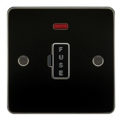 Knightsbridge Flat Plate Gunmetal 13A 1 Gang Fused Spur Unit with Neon