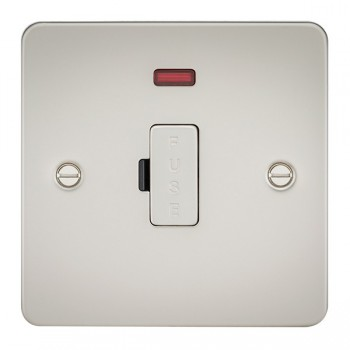 Knightsbridge Flat Plate Pearl 13A 1 Gang Fused Spur Unit with Neon