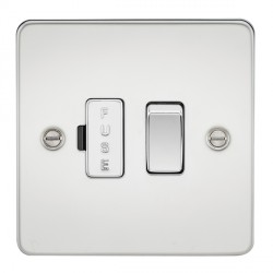 Knightsbridge Flat Plate Polished Chrome 13A 1 Gang Switched Fused Spur Unit