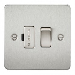Knightsbridge Flat Plate Brushed Chrome 13A 1 Gang Switched Fused Spur Unit