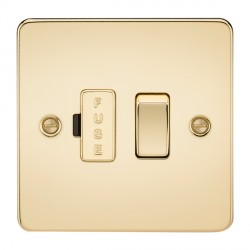 Knightsbridge Flat Plate Polished Brass 13A 1 Gang Switched Fused Spur Unit