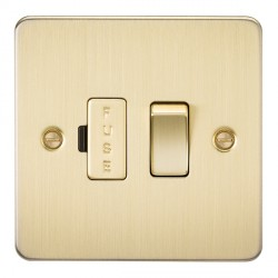 Knightsbridge Flat Plate Brushed Brass 13A 1 Gang Switched Fused Spur Unit