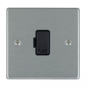 Hamilton Hartland Satin Steel 1 Gang 13A Fuse Only with Black Insert