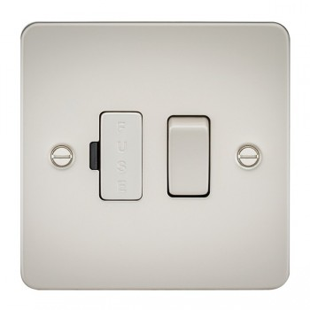 Knightsbridge Flat Plate Pearl 13A 1 Gang Switched Fused Spur Unit