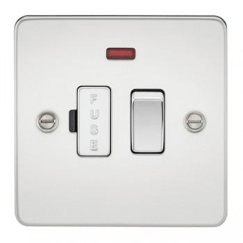 Knightsbridge Flat Plate Polished Chrome 13A 1 Gang Switched Fused Spur Unit with Neon