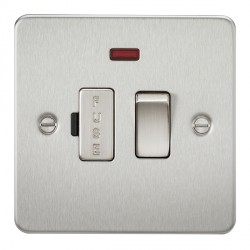 Knightsbridge Flat Plate Brushed Chrome 13A 1 Gang Switched Fused Spur Unit with Neon