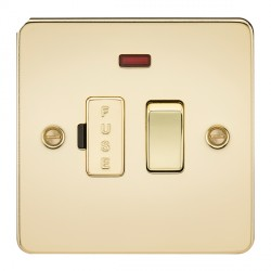 Knightsbridge Flat Plate Polished Brass 13A 1 Gang Switched Fused Spur Unit with Neon