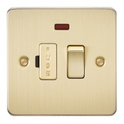 Knightsbridge Flat Plate Brushed Brass 13A 1 Gang Switched Fused Spur Unit with Neon