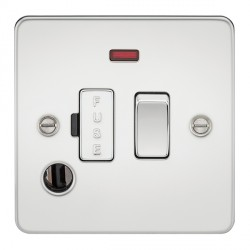 Knightsbridge Flat Plate Polished Chrome 13A 1 Gang Switched Fused Spur Unit with Neon and Flex Outlet