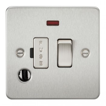 Knightsbridge Flat Plate Brushed Chrome 13A 1 Gang Switched Fused Spur Unit with Neon and Flex Outlet