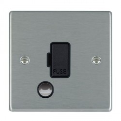Hamilton Hartland Satin Steel 1 Gang 13A Fuse + Cable Outlet with Black Insert