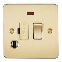 Knightsbridge Flat Plate Brushed Brass 13A 1 Gang Switched Fused Spur Unit with Neon and Flex Outlet