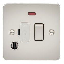 Knightsbridge Flat Plate Pearl 13A 1 Gang Switched Fused Spur Unit with Neon and Flex Outlet